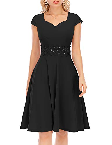 Bbonlinedress Spitzenkleid Abendkleider Rockabilly Kleid Knielang Vintage Retro Kleider Faltenrock Damen Cocktailkleid Black XL