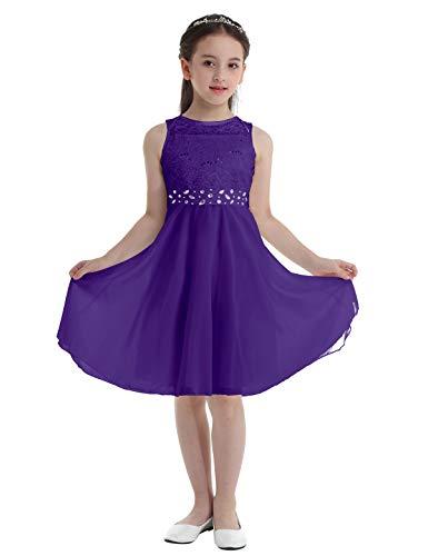 Freebily Vestido Largo de Fiesta Niña Vestido de Boda Bautizo Comunión con Lentejuelas Traje de Ceremonia Vestido de Flores Gala Niña Morado 12 años
