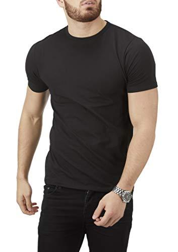 Charles Wilson Herren 4er Packung Elastan-T-Shirts mit Rundhalsausschnitt (XX-Large, Black Type 61)