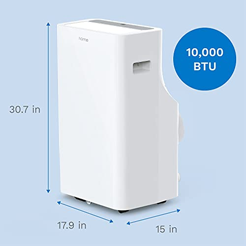 hOmelabs Portable Air Conditioner - 10000 BTU Quiet AC with Removable Washable Filter (Previously 14000 BTU) - Cooling Fan with Remote Control, LED Control Panel, Indicator Lights and Wheels