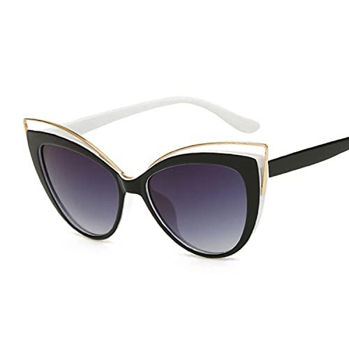 Gafas De Sol Gafas de sol Ojo de gato Mujeres Vendimia Moda Mariposa Espejo Gafas de sol Femenino Retro Estilo de verano Metal Luxury Gafas De Sol Polarizadas ( Lenses Color : Black white legs )