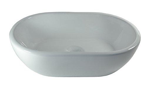 1x Keramikwaschbecken oval klein Aufsatz Waschbecken Keramik 45x29,5x12cm