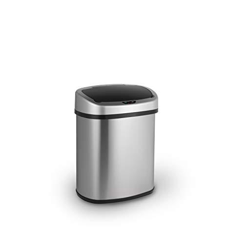 LIFA LIVING 38L Automatischer Sensor Mülleimer, Küchenabfälle, Abfalleimer mit Hand Bewegungssensor, Mülleimer Metall, Edelstahl, Silber (30l - 40l)