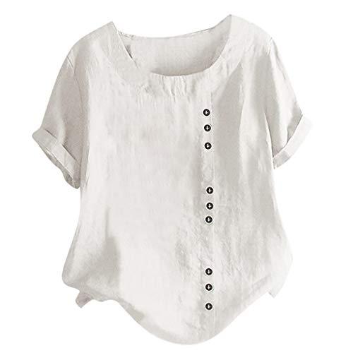 Damen T-Shirt O-Neck Bluse Leinen Einfarbig Tops Schöne Komfort Weste(Weiß,XL)