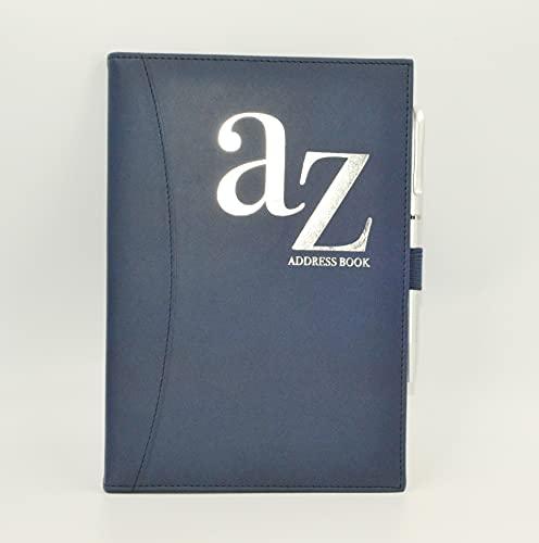 A to Z Teléfono A5 Libreta de direcciones A-Z Índice Tapa trasera dura con pluma (azul marino)