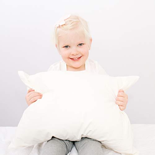 "Best Toddler Pillow - Designed For Kids. Adjustable Fill Helps Children With Sleeping. Certified Organic Toddler Pillow Fabric. Includes Toddler Pillowcase. Super Soft Organic Kids Pillow. 14""x19"""