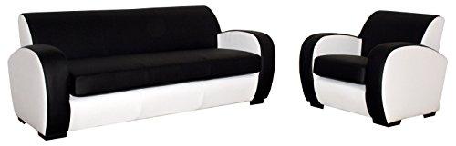CANAPES TISSUS Style Canapé Fixé, Polyuréthane, Noir/Blanc, 185 x 87 x 76 cm