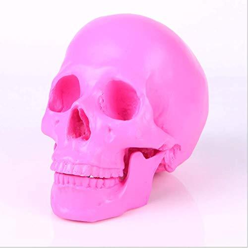 Cráneo De Calavera De Resina, Modelo De Calavera Humana, Adecuado para Decoración De Bares, Resina Antigua De Alto Grado Artesanía Antigua,Pink