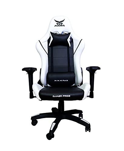 MOUBA Silla de Oficina PC Gaming Videojuegos Racing Escritorio Sillon Gamer Despacho, Blanca-Negro, Universal