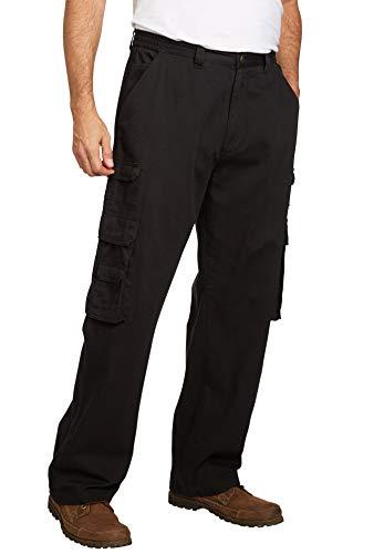 Boulder Creek by Kingsize Men's Big & Tall Side-Elastic Stacked Cargo Pocket Pants - Big - 60 38, Black