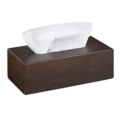 Relaxdays Doekenbox van bamboe, zakdoekbox met schuifbodem, tissue box voor zakdoeken, HBT: 7,5 x 24 x 12 cm, donkerbruin