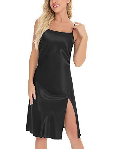 Aiboria Camisón Mujer Seda, Pijama Verano Camisones Sexy Satín Vestido de Seda Sin Manga Correas Ajustables Satén Kimono Camisón para Mujer