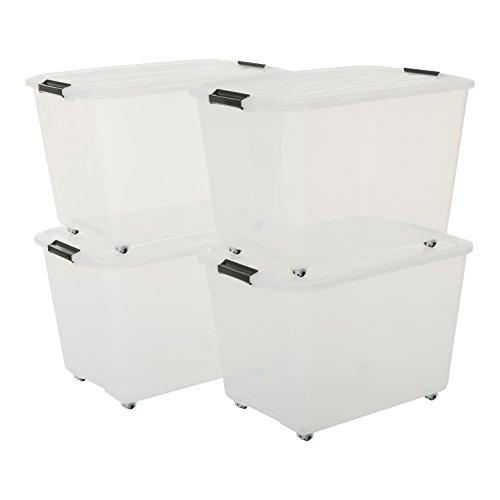 Iris Set von 4, Rollerbox 60 Liter, Rollbox mit Handel, Transparent, Ordnungssystem, Rollenbox mit Deckel, Stapelbare Aufbewahrungsbox, Kunststoffbox-60 Liter, Plastik, 4 x 60 L