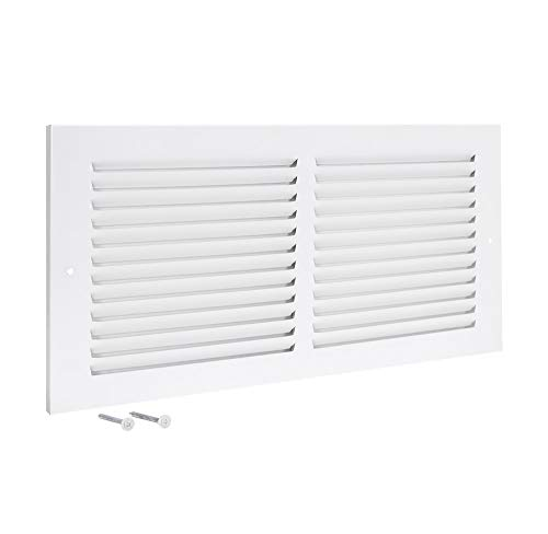 EZ-FLO 61628, White Return Air Grille, 14 inch (W) x 6 inch (H) Opening, 14' x 6'