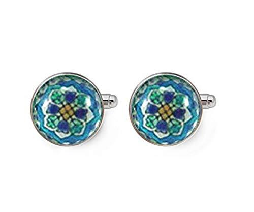Gemelos de plata con diseño de flores españolas en tonos turquesa, blanco y azul bebé, arte de azulejos español
