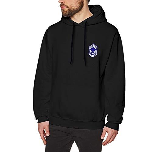 Usaf Chief Master Logo Mens Standard Hoodie With Slim Fit Long Sleeve Black