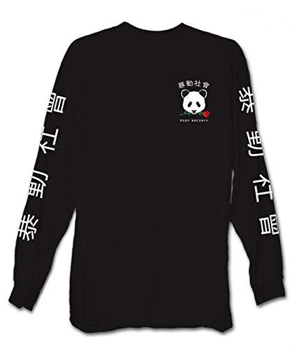 Riot Society Panda Rose Boys Long Sleeve Tee - Black, Medium