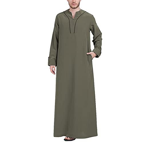 YHQKJ Vestido Casual árabe de los Hombres, Vestido Tradicional en V Cuello en v Manga Larga Vestido Ultra Largo para Casual (Color : C, Size : 4XL)