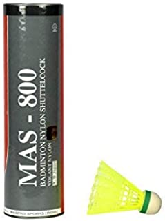 Maspro Nylon MAS-800 Badminton Shuttlecocks, Pack of 6 (Green)