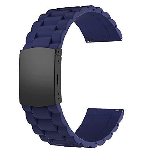 SOUWILA Correa Reloj Recambios Correa Relojes Caucho 16/18/20/22/24mm Silicona Correa Reloj con Acero Inoxidable Hebilla Desplegable (18mm, Navy Blue-Black)