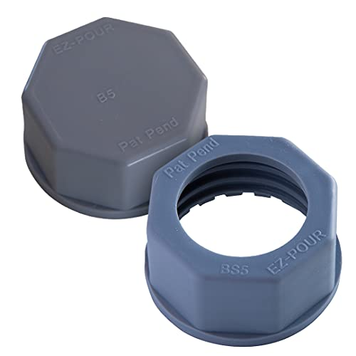 EZ-POUR Coarse Thread Gray Base Cap Kit, Replacement Spout Base Cap and Solid Block Off Cap Spout and Midwest Metal Jerry, Stancan, Tee Pee, Wedco containers