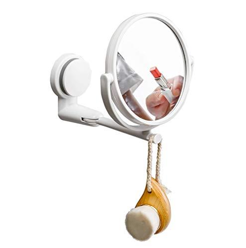 LOHOX Kosmetikspiegel Wandmontage Zweiseitig mit Starkem Saugnapf 3-fache Vergrößerung 360 Grad drehbar, Kabelloser und Kompakter Reisespiegel