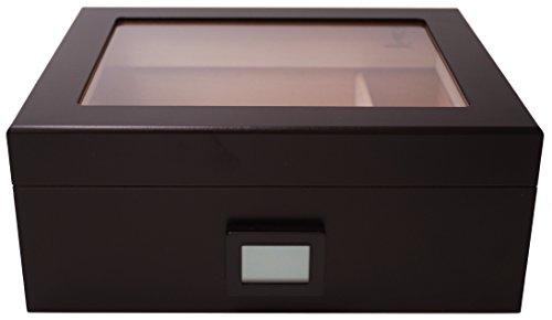 GERMANUS Desk Black Cigar Humidor with Digital Hygrometer and...