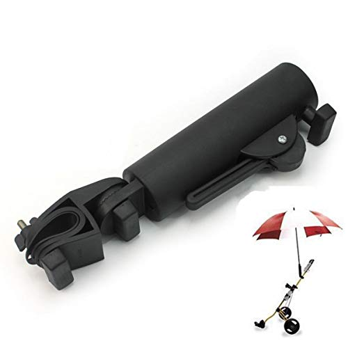 Muttiy Soporte de paraguas para carrito de golf, ángulo y ancho interno, paraguas ajustable, universal, para cochecito de bicicleta, carro de bebé, silla de ruedas