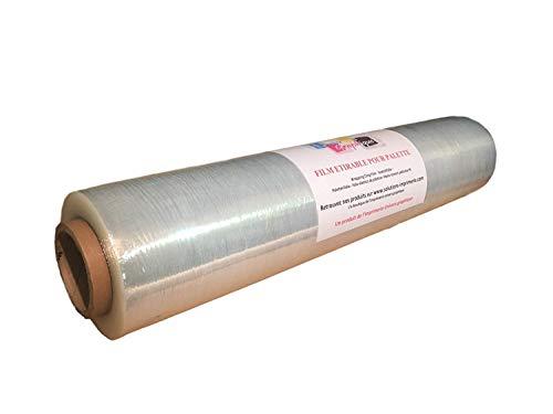 lot de 6 - Film étirable pour palette Transparent 450 mm x 270 mètres pour palette - film emballage manuel