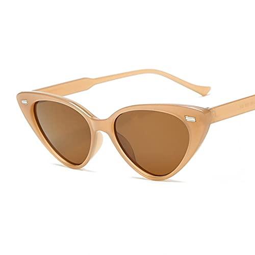 Tanxianlu Gafas de Sol de Moda con Forma de Ojo de Gato para Mujer, Gafas De Sol Negras Retro De Espejo De plástico Vintage para Mujer,Brown