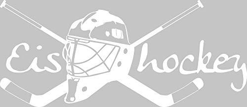 GRAZDesign Wandtattoo Schläger mit Helm - Kinderzimmer Dekoration Deko Eishockey - Wandaufkleber Teenager Sportler Hockey Wappen / 129x57cm / 660164_57_010