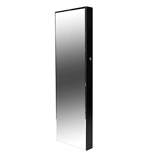 Mind Reader Slim Locking Jewelry Cabinet, Door-Mounted, Velvet Lined, Storage for Necklaces, Watches, Accessories, Full-Length Body Mirror, Black