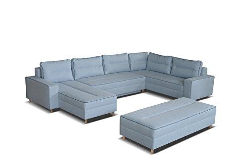 mb-moebel Ecksofa Eckcouch mit Bettkästen mit Schlaffunktion Couch Wohnlandschaft U-Form Polsterecke Blau LACO I mit HOCKER (Ecksofa Rechts)