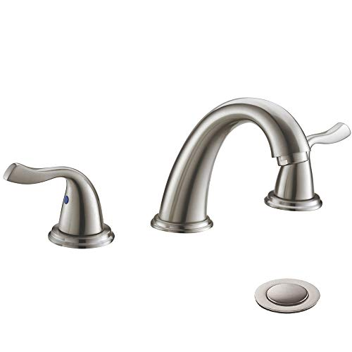Brushed Nickel Two Handle High-Arc Widespread Bathroom Sink Faucet by Phiestina, with Stainless Steel Pop Up Drain, WF008-7-BN