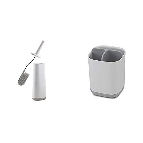 Joseph Joseph Flex - Toilettenbürste + Halter- weiß/grau & Bad Easy-Store - Zahnbürstenhalter - weiß/grau