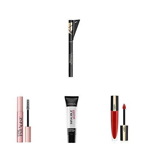 L'Oreal Paris Make-up Designer Eyeliner Líquido Negro + Máscara de Pestañas Negro + Pintalabios Mate Permanente Rojo + Alisadora de Maquillaje