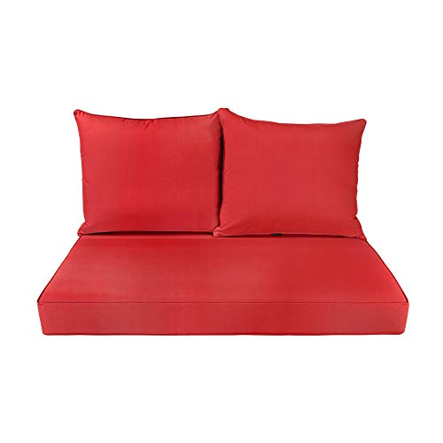 BOSSIMA Patio Furniture Cushions Comfort Deep Seat Glider Loveseat Cushion Indoor Outdoor Seating Cushions Bright Red