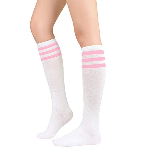 Womens Athletic Socks Outdoor Sport Socks Thigh High Tights Stockings Casual Stripes Tube Socks 1 Pack White Pink