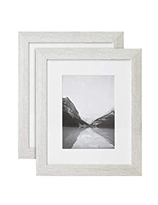 Afuly 5x7 Photo Frame 8x10 Wooden Rustic White Picture Frames Wall Mounted and Tabletop Gallery Display Gift,Set of 2