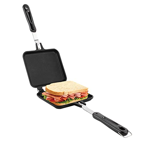 Toasted Sandwich Maker, Aluminium Doppelseitige Sandwich Flip Pan Tortilla Panini Presse für Herd, Grill und Lagerfeuer, 34,5 x 15 x 3 cm