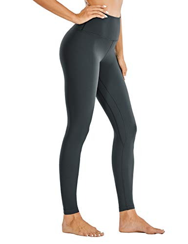 CRZ YOGA Mujer Leggins Cintura Alta Mallas Pantalones de Deporte Fitness -71cm Gris carbón 46