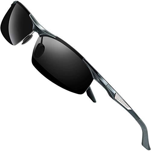 SIPLION Gafas de Sol Polarizadas Hombre para Conducir Deportes ultraligero marco de metal irrompible 100% UV400-8729 Gris