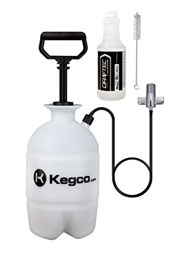 Draftec DTPCKCLR Deluxe Hand Pump Pressurized Keg Beer Kegerator Cleaning Kit with 32 oz. Cleaner Clear
