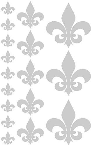 Samunshi® Wandtattoo Fleur de LYS Fleur de Lis Set in 5 Größen & 25 Farben (30x19cm silbermetalleffekt)