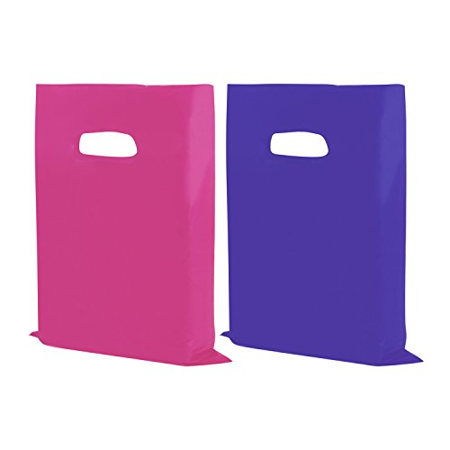 Houseables Merchandise Bags, Retail Shopping Goodie Bag, Plastic, 16 x 18, 100 Pack, 1.75 Mil Thick, Low Density, Glossy, Pink And Purple Color, With Handles, For Stores, Boutiques, Clothes, Books
