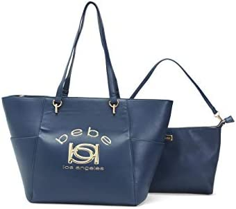 New BEBE Logo XL Tote Purse Hand Bag & Wristlet Pouch Set 2 Piece Deep Blue Gold
