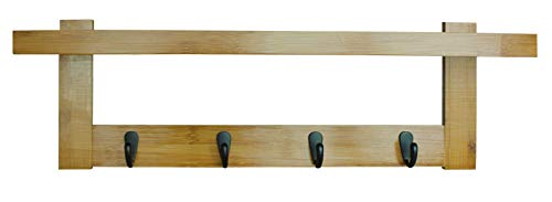 Box and Beyond Yaka - Perchero de bambú y metal, 5 ganchos, 1 estante, para fijar a la pared, color natural y negro – 56 x 12 x 18 cm