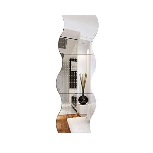 YangD Badezimmerspiegel, Wand Klebende Wellenform DIY Spiegel, Moderne Removable Home Eitelkeit Wohnzimmer Flur Schlafzimmer Fliesen Hängen Dekoration (Size : 3 pcs)