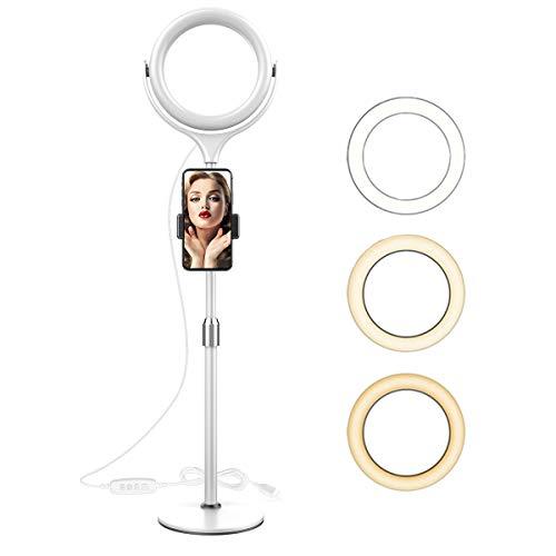 8''Luz de Anillo para Selfies Profesional con Soporte Giratorio para teléfono de 360 °,luz de Anillo de Belleza LED Regulable,para transmisión en Vivo/Maquillaje/fotografía/producción de Video