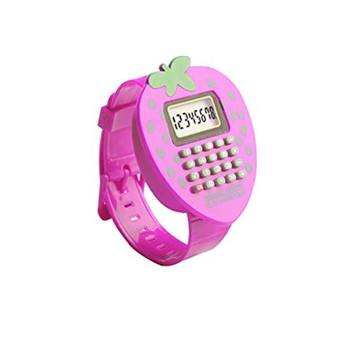 Mini Calculadora De Fresa Reloj De Pulsera Multifunción para El Aula De Hogar O Calculadora De Examen De Estudiante (Color : Pink)